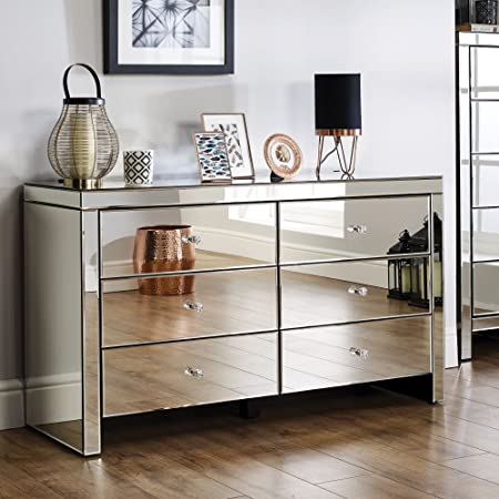 Mirrored Bedroom Furniture Happy Beds Seville Silver Wide 6 Drawer Chest Height 72 5 Cm Width 125 Cm Depth 40 Cm