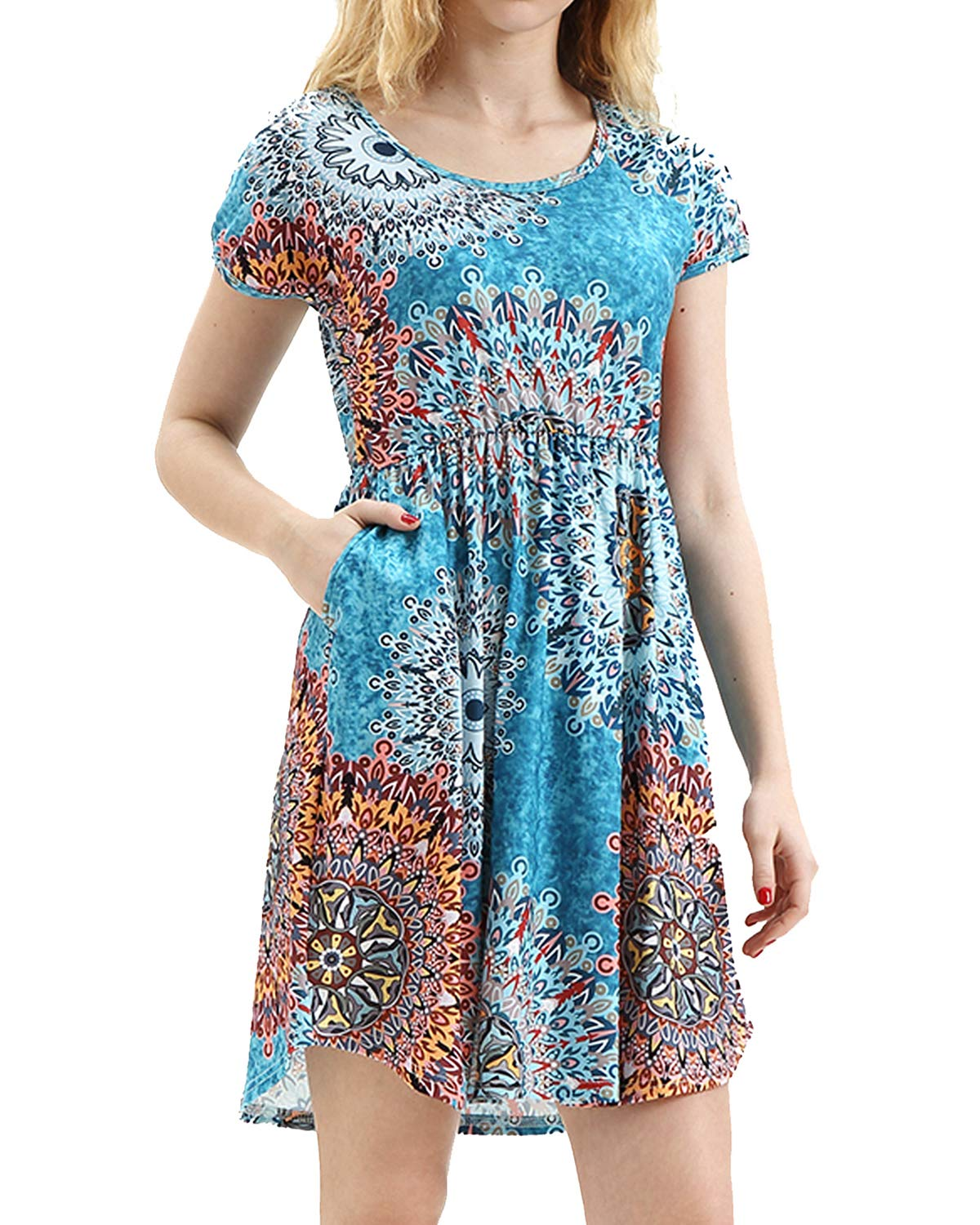 deesdail Modest Dresses for Women, Ladies Round Neck Short Sleeve Petite Midi Dress Slim Fit Floral Printed Long Tunic with Pockets Mix Blue Flower M