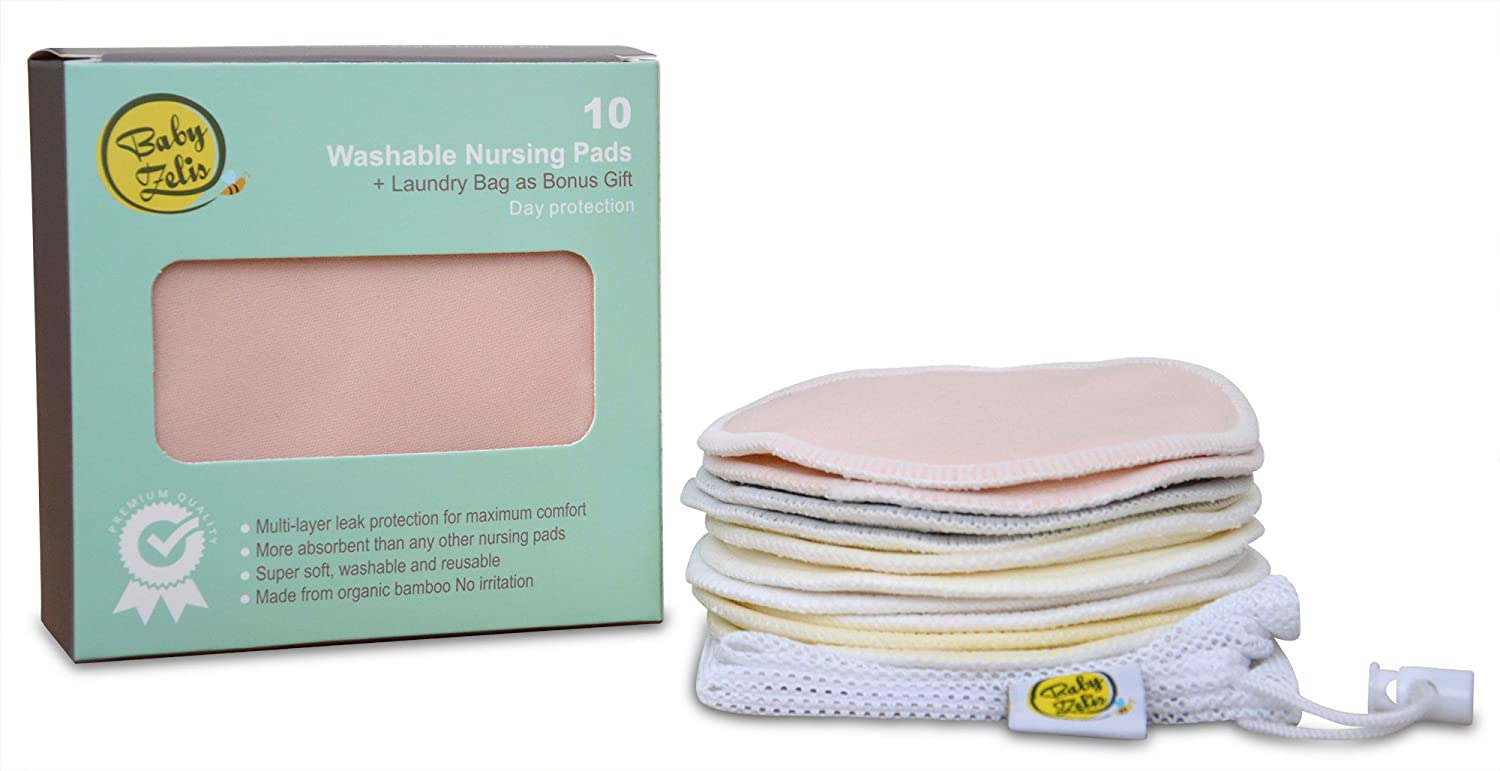 With Laundry Bag by Baby Zeli Washable Breastfeeding Pads Reusable Organic Bamboo Nursing Pads 10 Pack Ultra Soft Hypoallergenic