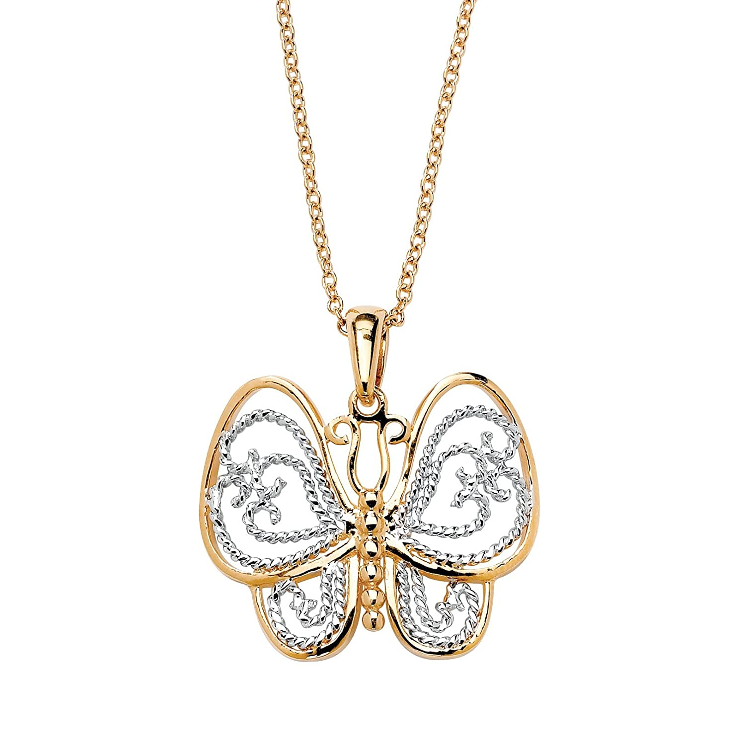 Lux 18K Yellow Gold Plated Filigree Butterfly Charm Pendant 27mm with 18 inch Chain