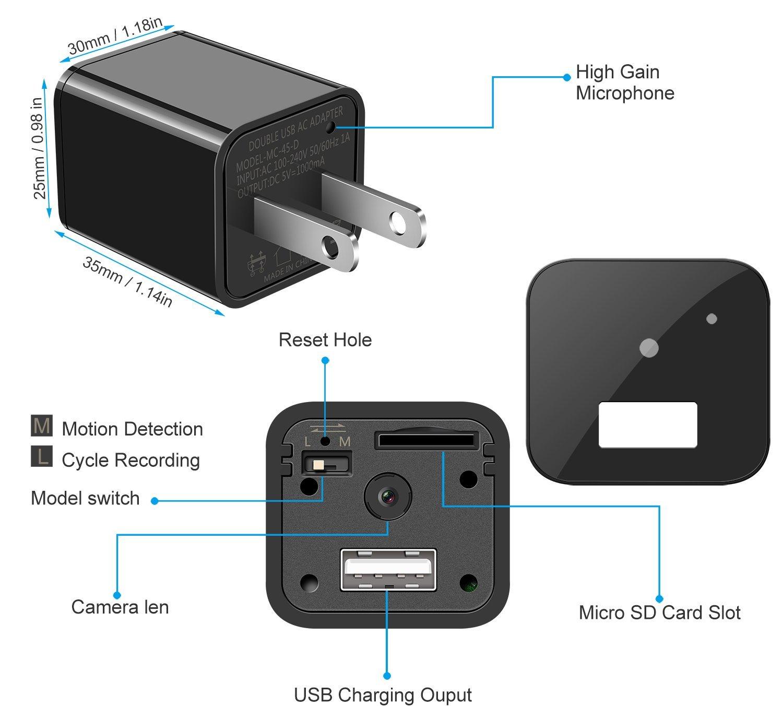 Spy Camera Charger – Hidden Camera 32GB- Motion Detection 1080P – USB Hidden Camera – Surveillance Camera – Mini spy Camera – USB Camera – Camera Charger – Security Camera – Nanny Cam