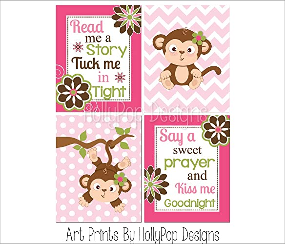 Amazon com: Baby girl wall decor, Girl monkey nursery art, Pink