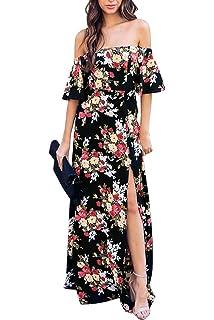43c11d2f0f4 YOSICIL Femme Robe Longue à Fleur Bustier Robe Floral Col Bateau Épaules  Dénudées Sexy Robe à Fentes de Soirée…
