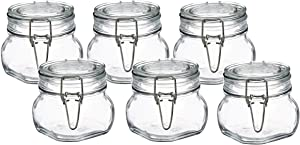 Bormioli Rocco Fido Clear Glass Jar with 85 mm Gasket,0.5 Liter (Pack of 6) (6 Items)