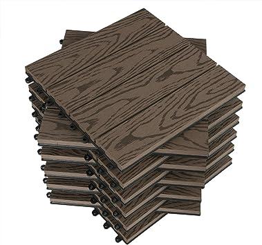 WOLTU Suelo de WPC Set de 11 Baldosas de Madera Exterior para Porche Patios Jardin, 30 x 30 cm 1m² Suelo de Exterior Compuesta Azulejos para Terraza, Jardin Marrón: Amazon.es: Bricolaje y herramientas