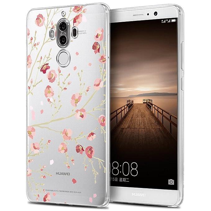 1 opinioni per Huawei Mate 9 Cover , YIGA Colore Fiore Foglia Trasparente Silicone Morbido TPU