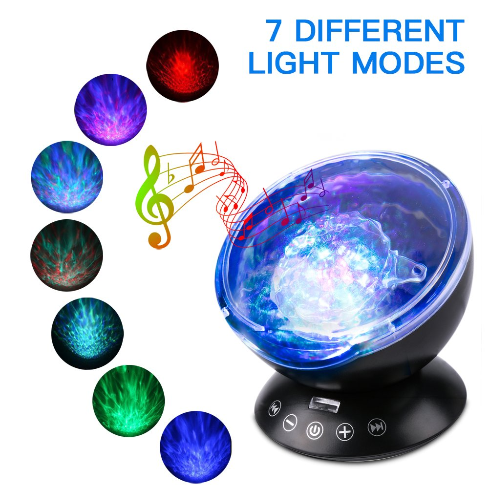 Romantic Colorful Sleep Lamp with Remote Controller Ocean Wave 7 Modes Projection Built-in Hypnosis Music Decorative Mood Light for Bedroom Bathroom Nursery Room Decoration