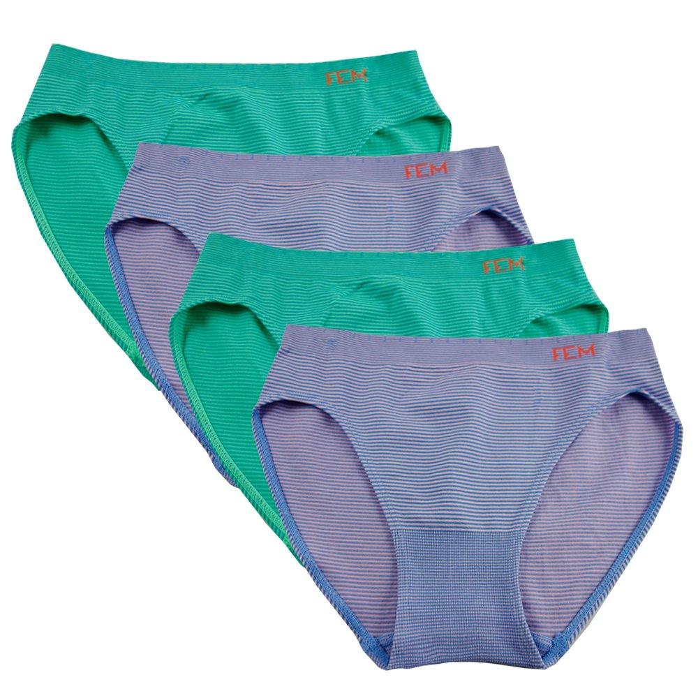4 Pack FEM Girl Seamless Underwear Soft Bikini Panties for Girls