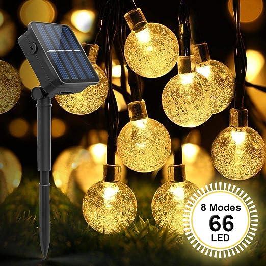 Cadena Solar de Luces, Guirnalda Luces Exterior Solar, SYOSIN Luces Decorativas 66 LED, IP65 Impermeable Con 8 modos, para Fiestas, Jardines Festivales, etc【Clase de eficiencia energética A+++】: Amazon.es: Iluminación