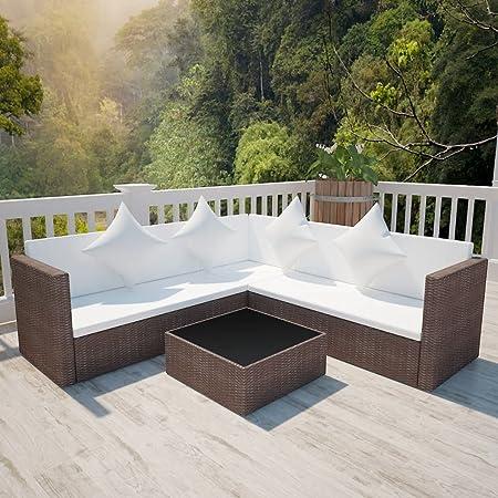 UnfadeMemory Juego de Sofás de Jardín Exterior 4 Pzas con Cojines,Muebles de Jardín Terraza Balcón o Patio,con Mesa de Centro,Ratán Sintético,Marco de Acero (Marrón): Amazon.es: Hogar