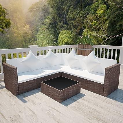 Tidyard Conjunto Muebles de Jardín de Ratán 17 Piezas Sofa ...