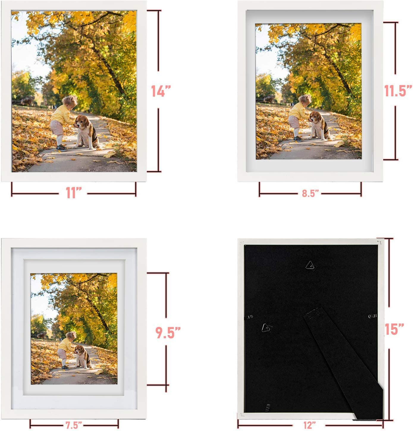 Real Glass 1 Pack 11X14 White Picture Photo Frame with Matted for 8X10 or 9x12 Photo for Wall and Table Top-Mounting Hardware Included Beyond Your Thoughts Wood Hang//Stand