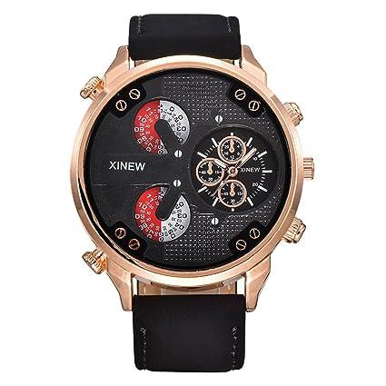SKY Hombre de lujo aviador blanco mecánico automático fecha día reloj de pulsera de cuero (café): Amazon.es: Relojes