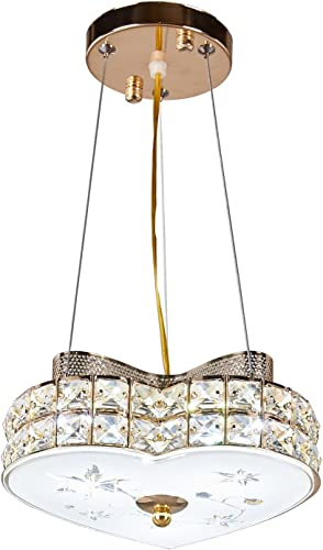 Diamond Life Modern LED Crystal Chandelier Pendant Hanging or Flush Mount Ceiling Lighting Fixture, 3 light colors in one Smart Lamp, 500