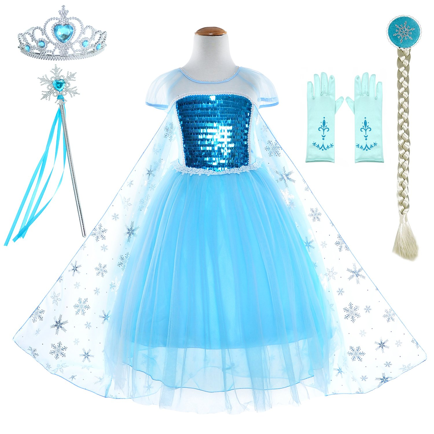 Snow Queen Princess Elsa Costumes Birthday Dress Up For Little Girls with Crown,Mace,Gloves Accessories 2-3 Years(100cm)