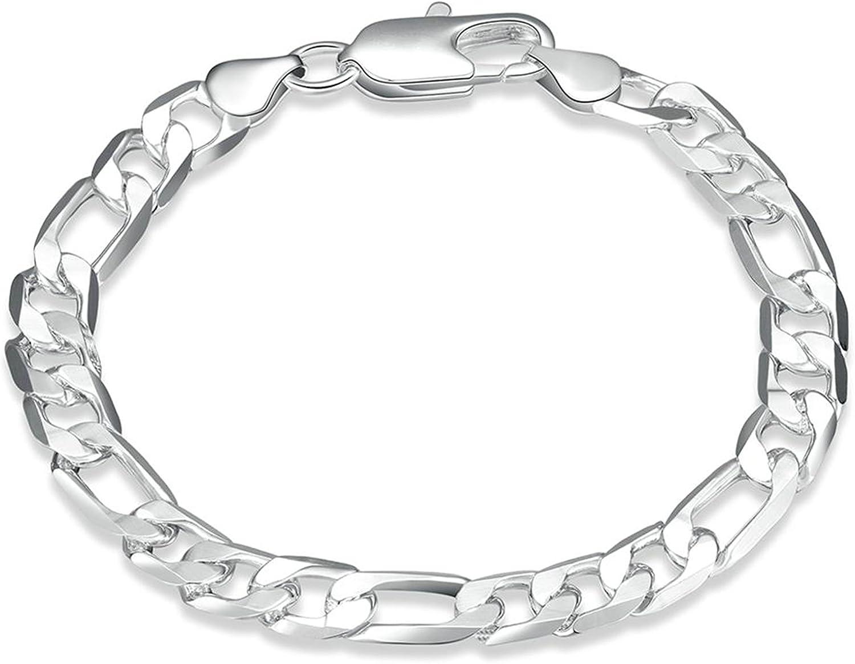 Aokarry Jewelry Link Bracelet,Wedding Bracelet Bangle Copper Figaro Chain n Silver Length 8 in