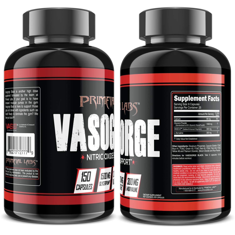 Primeval Labs Vasogorge Black, Nitric Oxide Support, Stimulant-Free, Promotes Greater Vasodilation, Improved Blood Flow Cellular Swelling, Improved Stability Shelf-Life, 150 Capsules