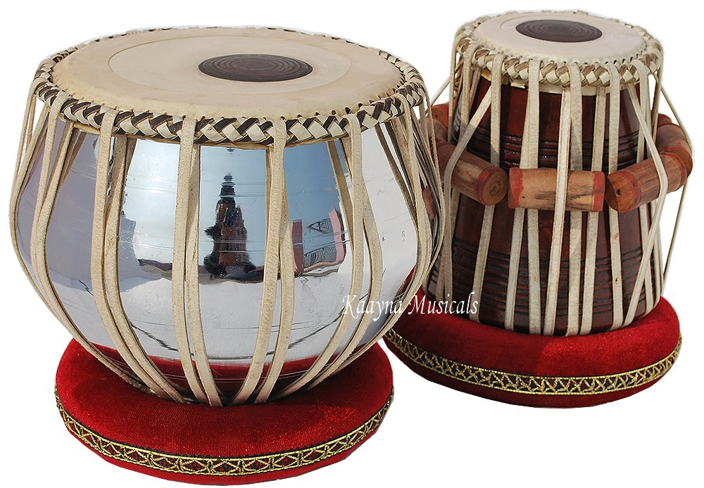 Tabla Drum Set, Pro Grade, 2.5 Kg Brass Bayan, Chrome Finish, Sheesham Wood Dayan, Hand Made Drum Skin, Leather Straps to Tune, Long Life, Comes with Tuning Hammer, Gig Bag, Cushion & Cover Kaayna Musicals PLNREG-BRA-10