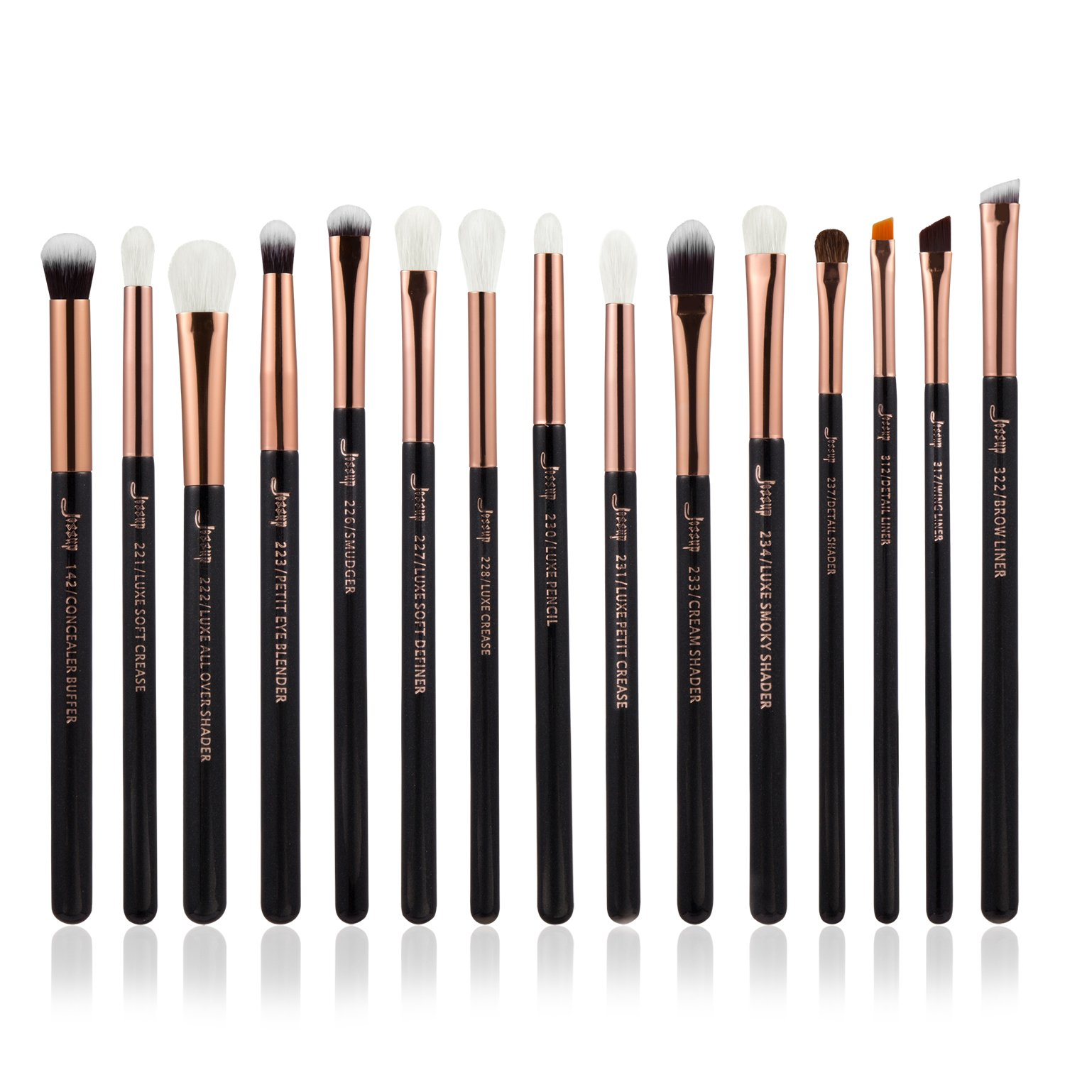 Jessup Professional Makeup Eyebrush 15 pcs Lipstick Blending Liner Eyeshadow Natural- Synthetic Hair Black/Rose Gold T157 MANKALUN