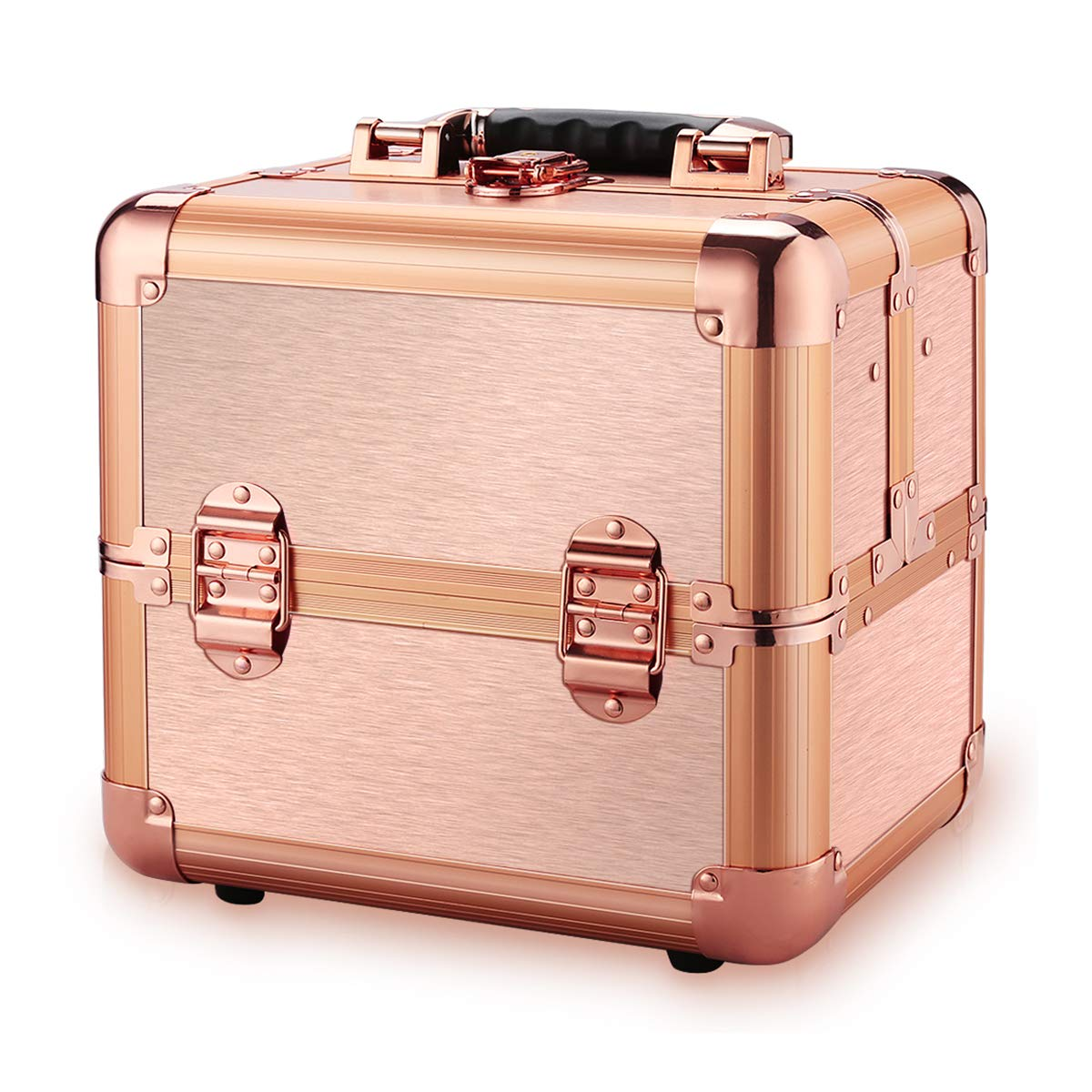 Ovonni Professional Portable Small Makeup Train Case, Artist Lockable Aluminum Cosmetic Organizer Storage Box with Compartments Rosegold 1
