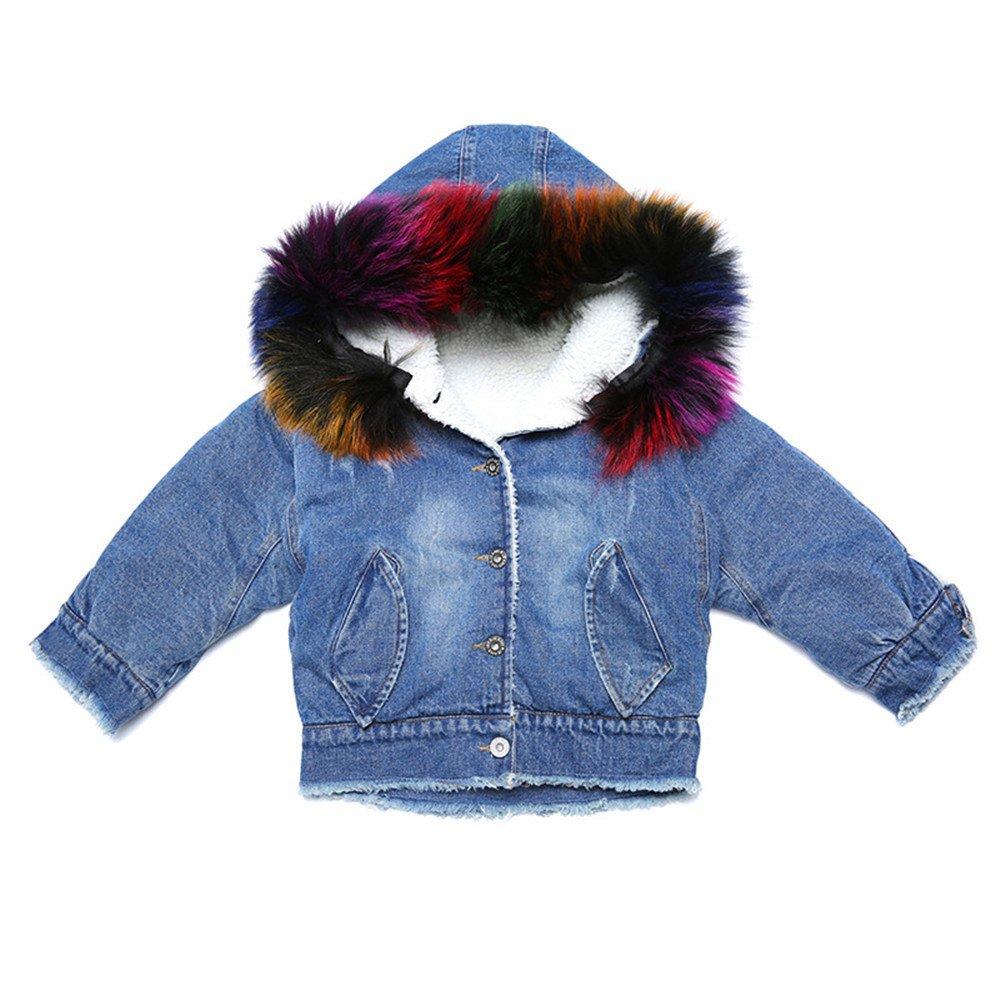 Kids Little Big Girls Hooded Fur Collar Denim Coat Jacket Outwear (10, Short)
