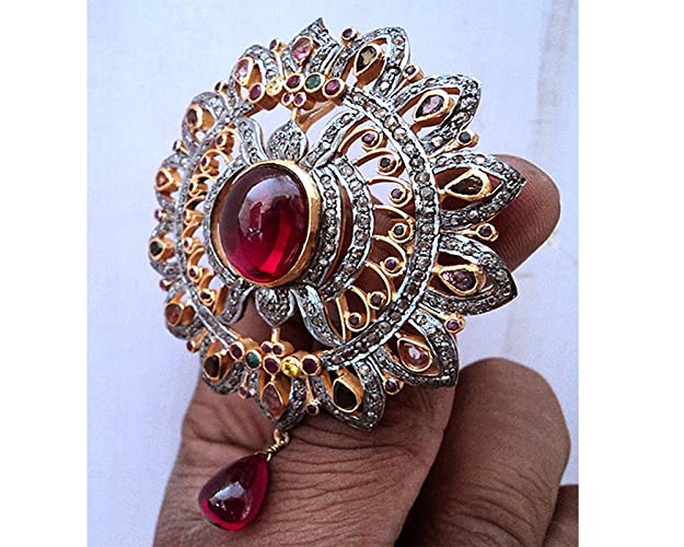 Victorian Rose Cut Diamond Natural Ruby Brooch 925 Sterling Silver Pin Brooch Jewelry & Watches Diamonds & Gemstones