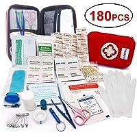 MOKIU Erste Hilfe Set 180-teilig,First Aid Kit Verbandtasche für Familie, Innenraum, Draußen Erste Hilfe, tragbar Wasseredicht und Staubdicht