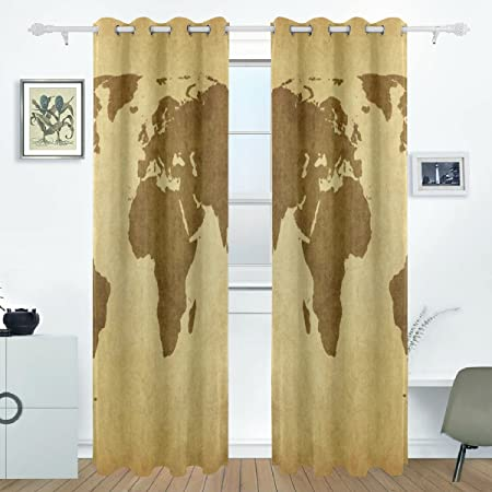 Aideess vintage world map curtain panels insulated curtains blackout aideess vintage world map curtain panels insulated curtains blackout drapes thermal curtains for kids room 55x84 gumiabroncs Choice Image