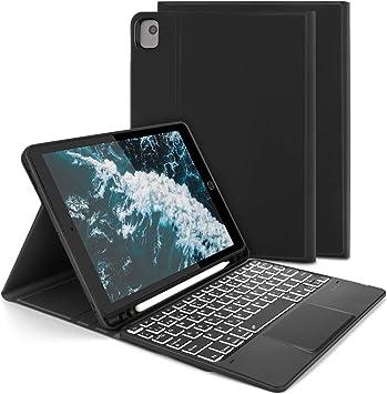 Jelly Comb Funda con Teclado Español Trackpad para iPad 10.2 2020/2019,iPad Air 3 2019/iPad Pro 10.5 2017, Teclado Desmontable Retroiluminado de 7 ...