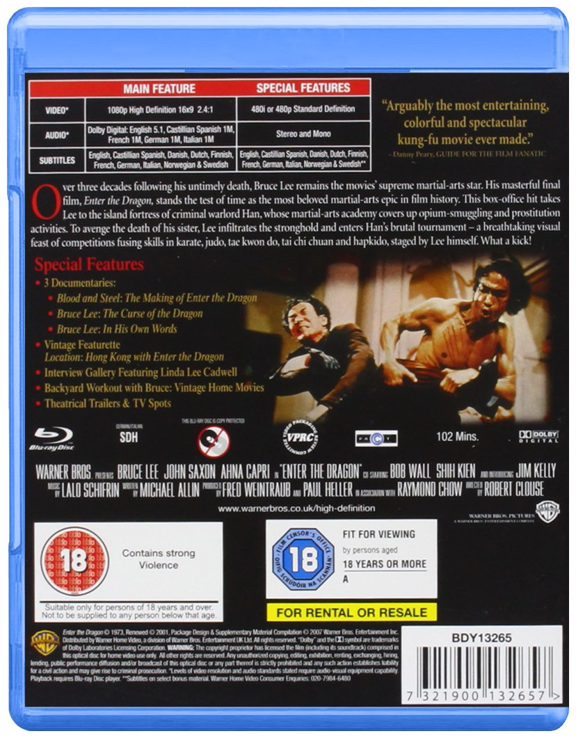 0efb9a879a0 Amazon.com: Enter the Dragon [Blu-ray]: Bruce Lee, Jim Kelly, John Saxon,  Shih Kien, Bob Wall, Mykelti Williamson, Pat E. Johnson, Chuck Norris, Tony  Liu, ...