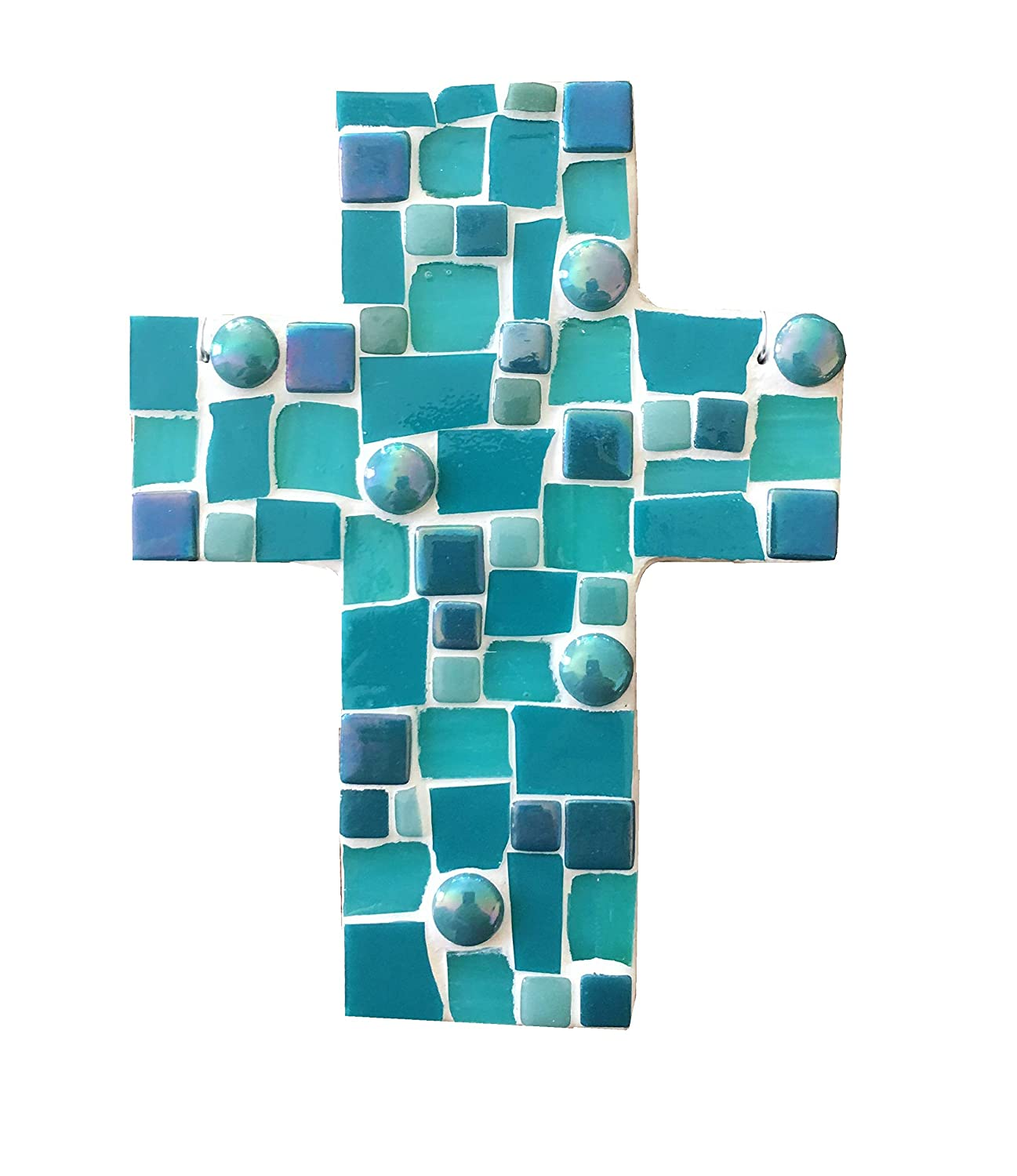 Mosaic Wall Cross Ornament, Assorted Blue and Teal stained glass with white colored grout