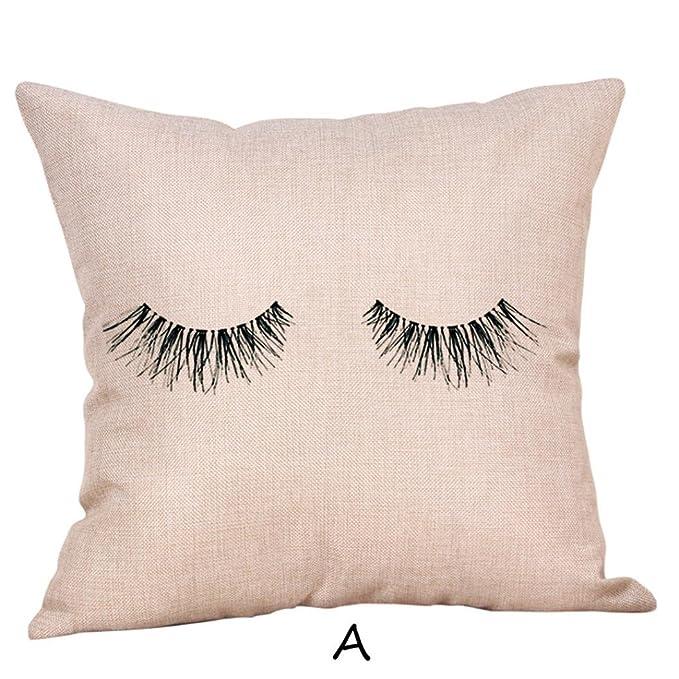 Amazon.com: leyorie Creative de pestañas fundas de almohada ...