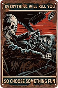 LINQWkk Creative Tin Sign Skeleton Auto Racing Funny Novelty Metal Sign Retro Wall Decor for Home Gate Garden Bars Restaurants Cafes Office Store Pubs Club Sign Gift 12 X 8 INCH Plaque Tin Sign