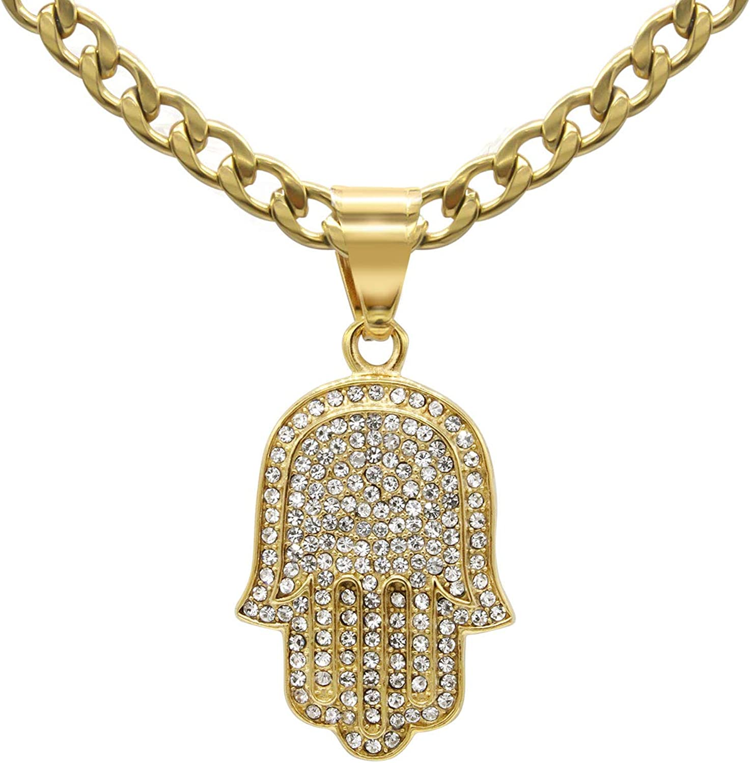 BEBERLINI Hamsa Hand CZ Pendant Necklace Set Gold Silver Stainless Steel Box Cuban Chain Lobster Clasp Cubic Zirconia Charm Fashion Jewelry for Men