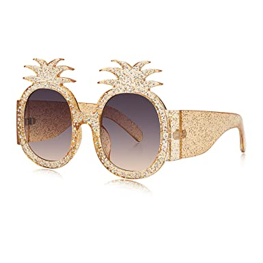 ec8abdf5f2 WOWSUN Fashion Pineapple Women Sunglasses Glittered Oversized Round Crystal  Frame Yellow