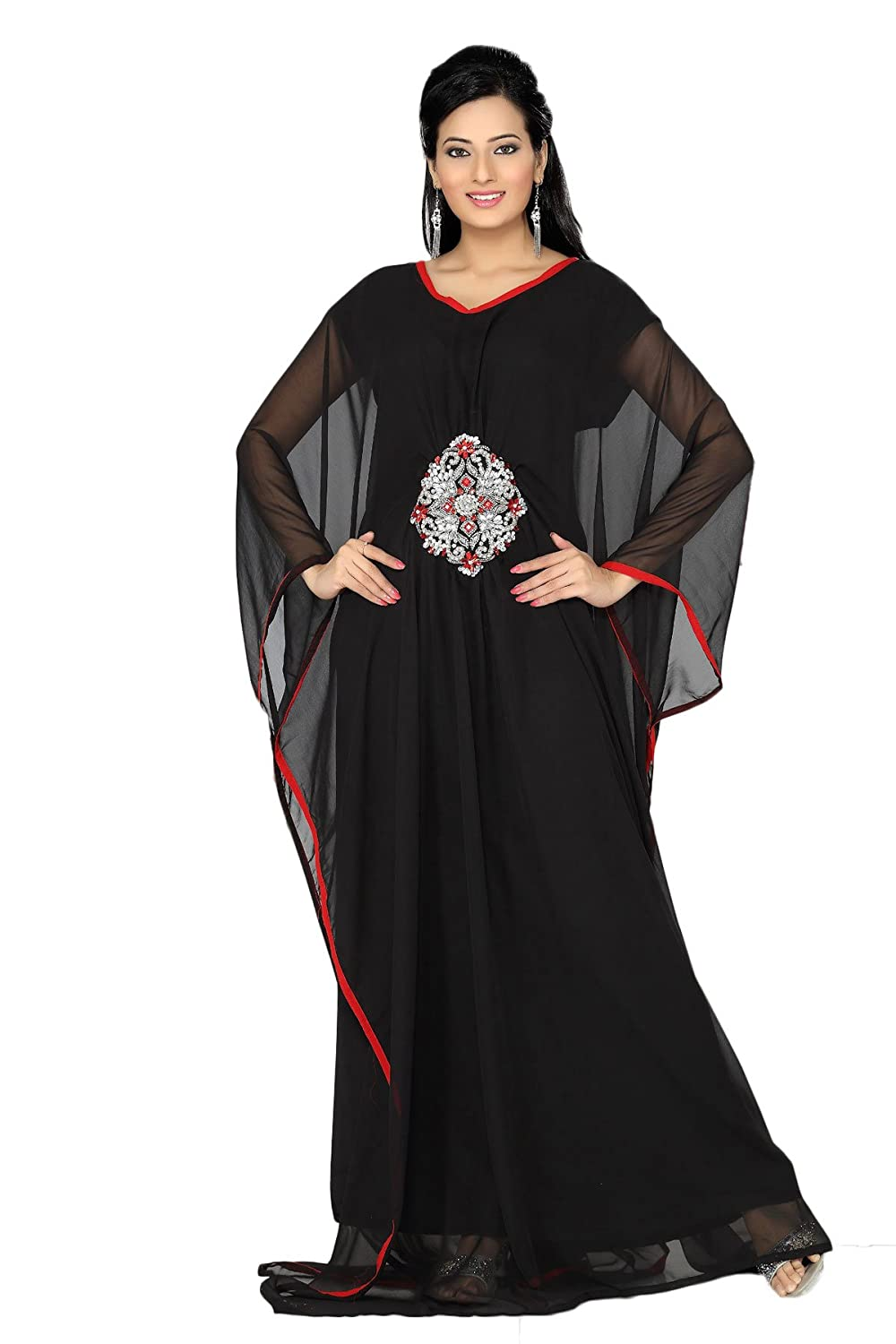 ANIIQ Women Farasha Muslim Islamic Black Georgette Embroidered Embelished Long Kaftan Dress SNM 198