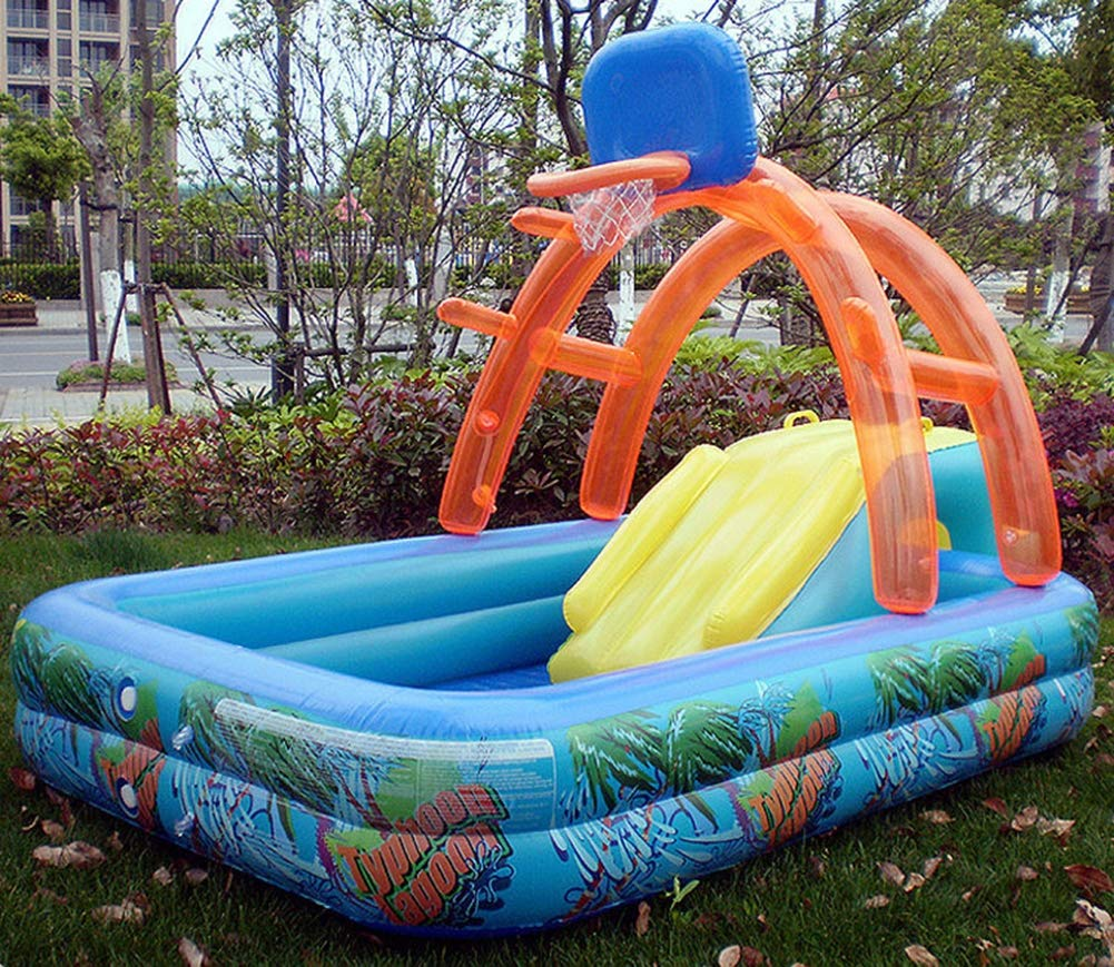 Uhruolo Inflatable Paddling Pool,Water Games Centre with Slide for Kids Slide by Uhruolo (Image #3)