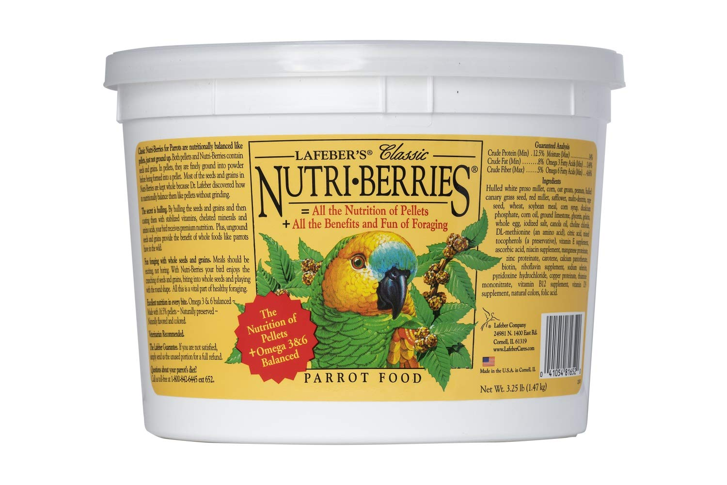 LAFEBER'S Classic Nutri-Berries Pet Bird Food, Made with Non-GMO and Human-Grade Ingredients, for Parrots, 3.25 lbs by LAFEBER'S
