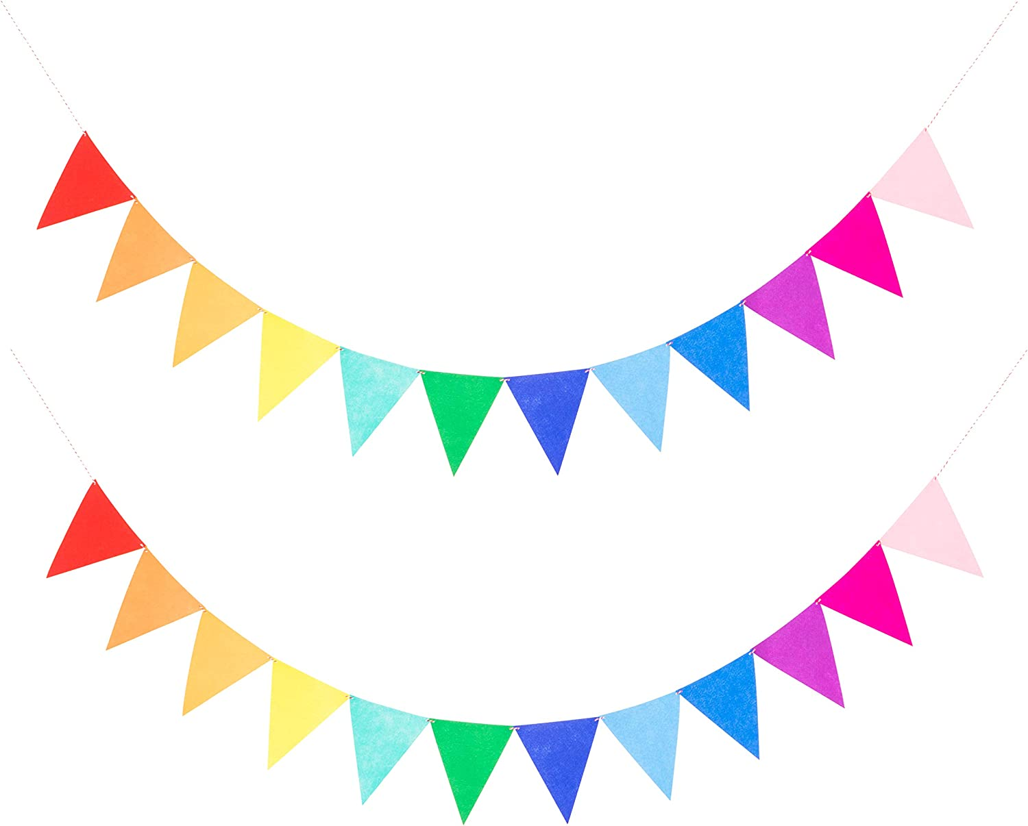 LOVENJOY 2 Assembled Rainbow Banners Felt Bunting Multicolor for Colorful Birthday Party Decorations