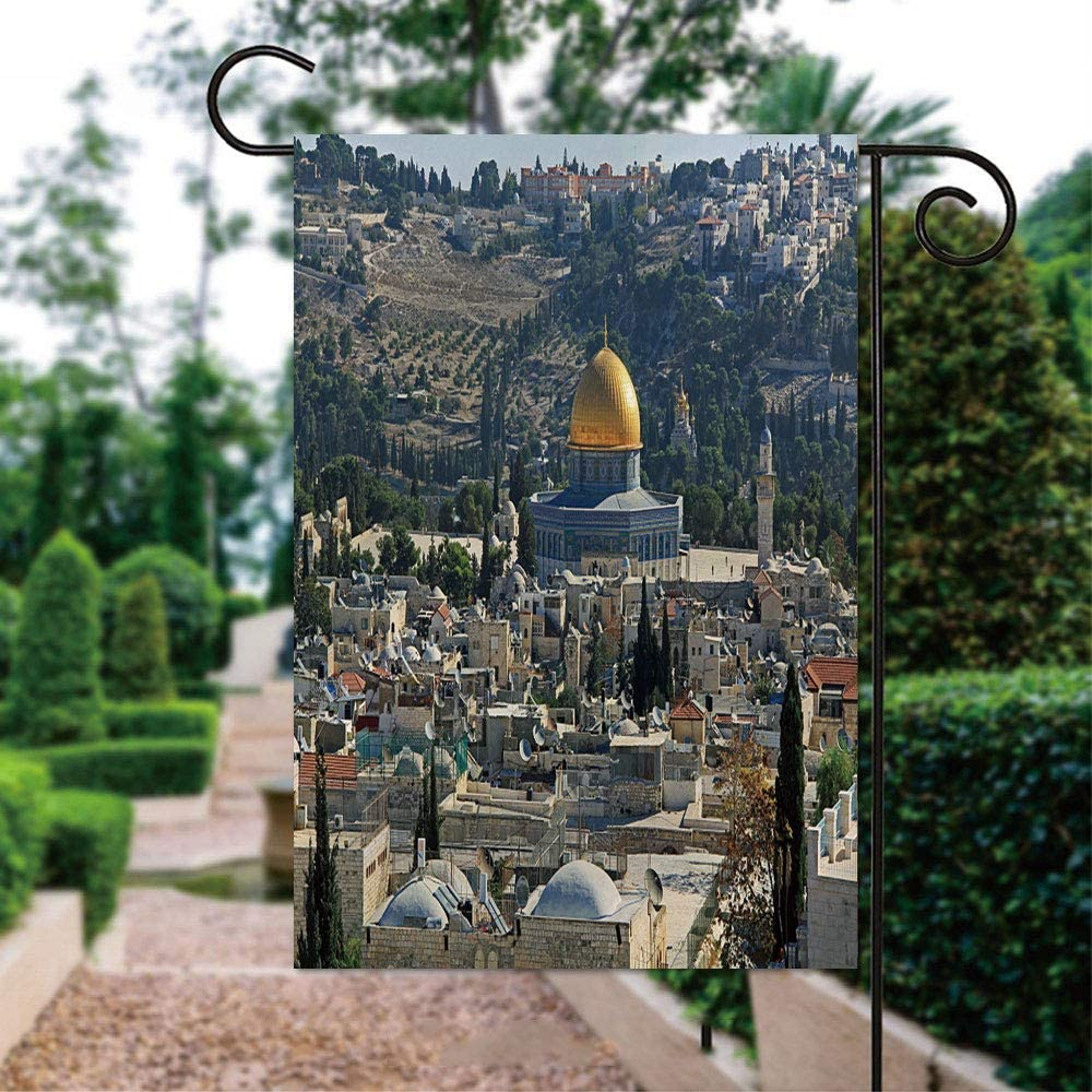 ALUONI Seasonal Garden Flags 12x18 inch Yard Flags - Dome of The Rock As Seen from The Jerusalem Citadel Double Sided Design for All Seasons and Holidays IS083652