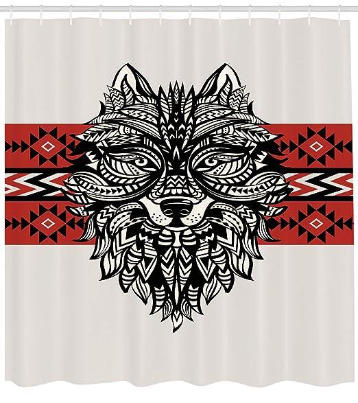 ABAKUHAUS Lobo Cortina de Baño, Cara del Estilo del Tatuaje Animal ...
