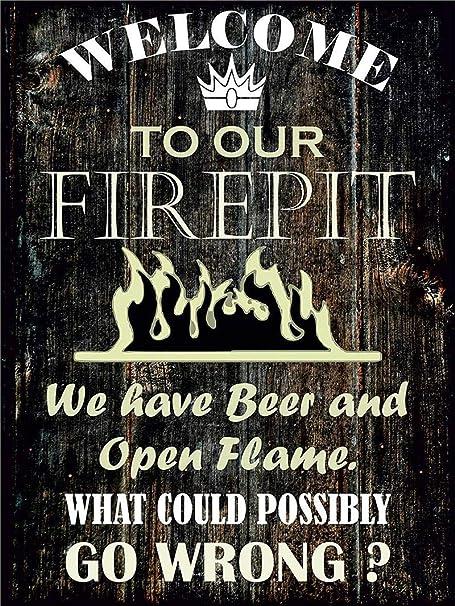 HiSign Bienvenido a Nuestro Firepit Cartel de Pared de Chapa ...