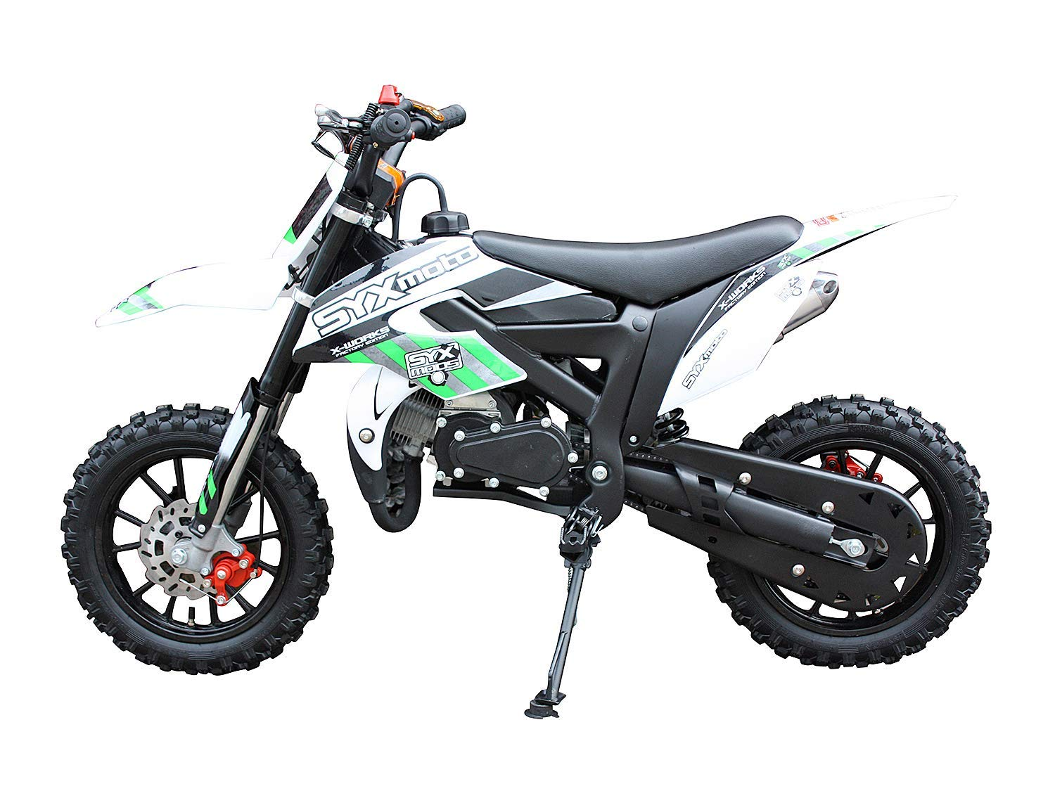 Pit Bike Fully Automatic Transmission,White with Green decal SYX MOTO Kids Dirt Bike Holeshot-X 50cc Gas Power Mini Dirt Bike 20inches Seat Height Dirt Off Road Motorcycle