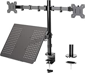 Dual Monitor with Laptop Stand - Height Adjustable Dual Monitor Mount with Laptop Tray Fit Two 13 to 27 Inch Flat Curved Computer Screens and 10 to 17 Inch Notebooks