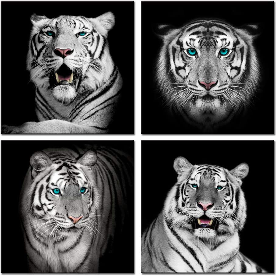 Visual Art Decor Black and White Animals Wall Art,Tiger Giclee Canvas Prints,Modern Tigers Wall Decor,Photo to Picture Painting Prints,Framed and Stretched,Home Wall Decoration (Framed, Tiger)