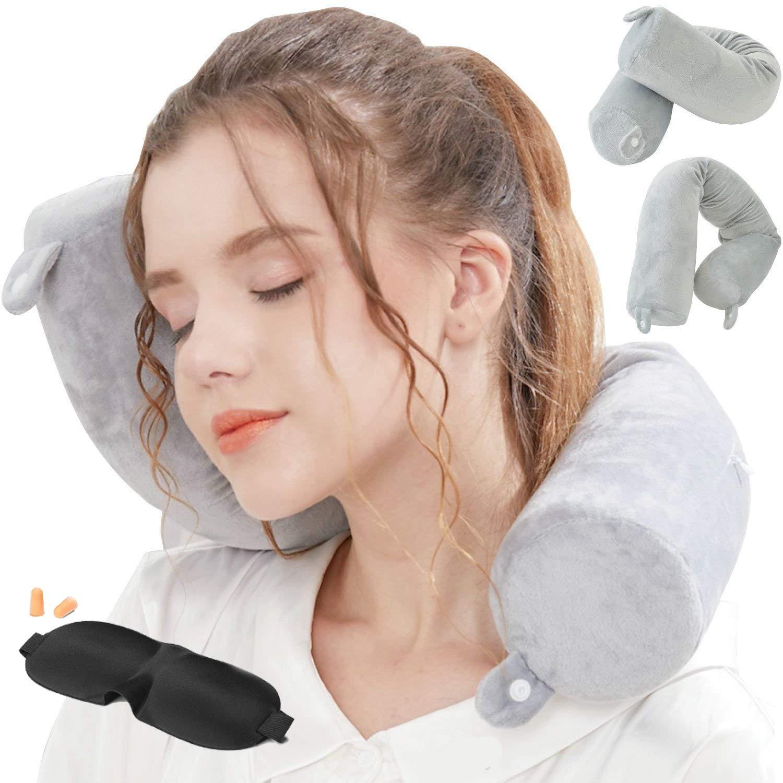 Lucear 空気注入式旅行用枕セット ベルベット旅行用ネックピロー スリープマスク 耳栓 キャリーポーチ付き 収納に便利 3秒で膨らませる  Grey Memory Foam B07J63KGNN