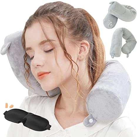 Lucear Twist Memory Foam Travel Pillow Neck, Chin, Lumbar Leg Support Traveling On Airplane, Bus, Train At Home(Grey Memory Foam) by Lucear