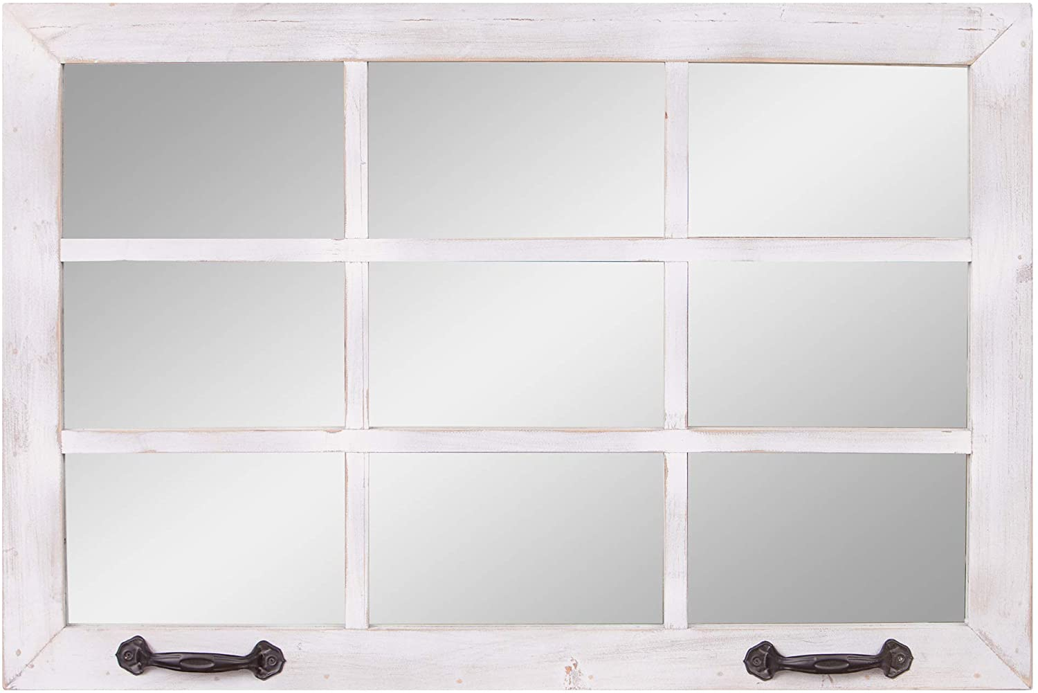 24x36 Distressed White Windowpane Wall Accent Mirror