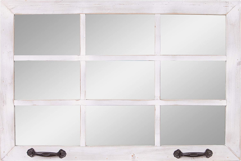 24x36 Distressed White Windowpane Wall Accent Mirror Home Kitchen