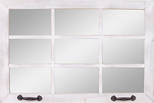 24×36 Distressed White Windowpane Wall Accent Mirror